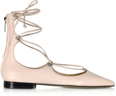 Pinko Mercurio Light Pink Leather Pointed Ballet Flats
