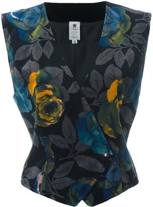 Emanuel Ungaro Pre Owned Floral Print Velvet Waistcoat