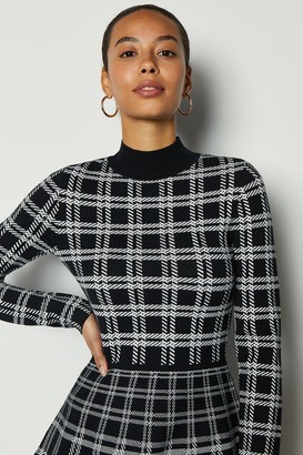 Karen Millen Bold Check Knit Fit And Flare Dress