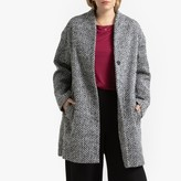 La Redoute Collections Plus Collarless Herringbone Single-Breasted Coat with Pockets