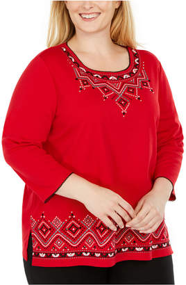 Alfred Dunner Plus Size Well Red Embroidered Top