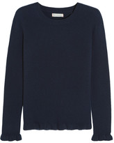 Chinti and Parker Ruffled Ribbed Cashmere Sweater - Navy