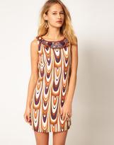 M Missoni Swirl Print Shift Dress With Crochet Bib