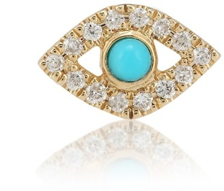 Sydney Evan Small Evil Eye 14kt yellow gold, turquoise and diamond single earring