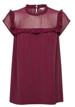 Dorothy Perkins Womens **Billie & Blossom Mulberry Ruffle Shell Top
