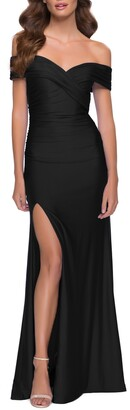 La Femme Off the Shoulder Stretch Jersey Gown