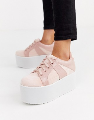 Lost Ink chunky flatform lace up sneaker in pink