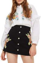 Topshop Embroidered Button Front Denim Skirt