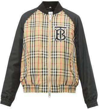 Burberry Tb Monogram Vintage Check Bomber Jacket - Womens - Beige Multi