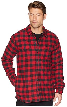 Dickies 67 Collection - Flannel Shirt Jacket with Sherpa Lining (Rinsed White/Black Buffalo Plaid) Men's Coat