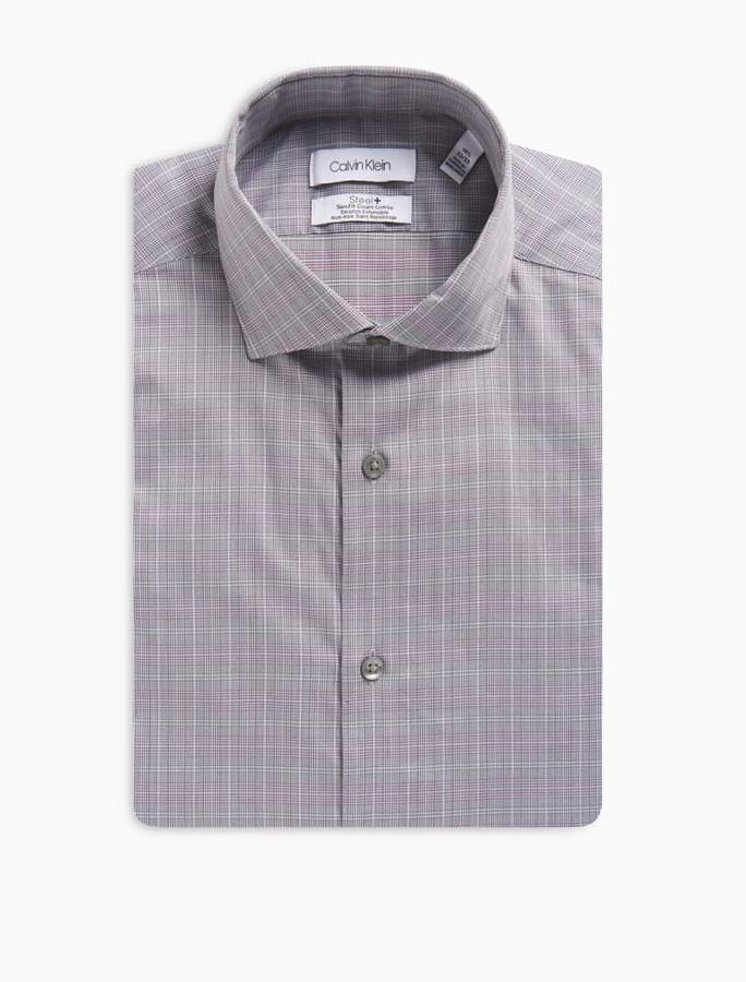 Calvin Klein Slim Fit Purple Multi Check Performance Non-Iron Dress Shirt