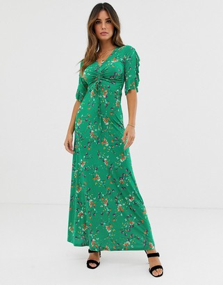 TFNC floral three quarter sleeve ruched front maxi dress-Multi