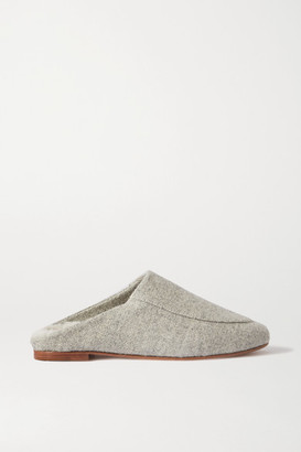 PORTE & PAIRE Shearling-lined Felt Slippers - Gray