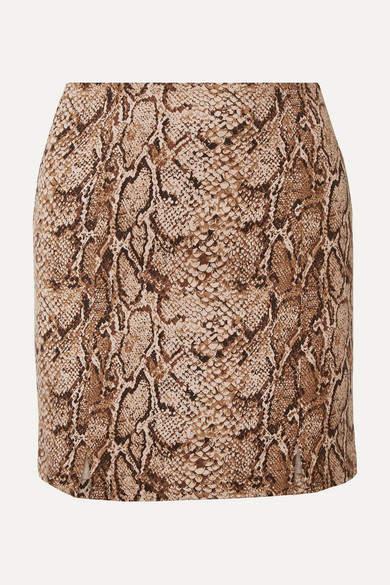 Reformation Oak Snake-print Stretch-jersey Mini Skirt - Snake print