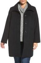 Kristen Blake Plus Size Women's Patch Pocket Wool Blend Topcoat