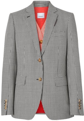 Burberry Waistcoat Detail Houndstooth Check Wool Blazer