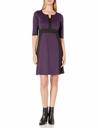 Star Vixen Women's Elbow Sleeve Colorblock Fit N Flare Dress
