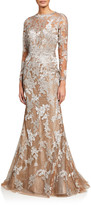 Rene Ruiz Collection Long-Sleeve Lace Illusion Mermaid Gown
