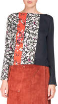 Acne Studios Loretta Mixed Floral-Print Long-Sleeve Scoop-Back Top