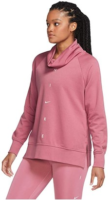 Nike Dry Get Fit Fleece Cowl Neck Graphic (Desert Berry/Pink Foam) Women's Clothing