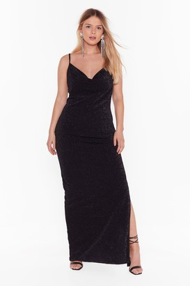 Nasty Gal Womens The Party's Cowlin' Plus Maxi Dress - black - 16