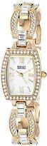 Badgley Mischka Women's BA/1336WMGB Swarovski Crystal-Accented Gold-Tone Watch with Open-Link Bracelet