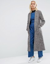 Helene Berman Drapey Longline Jacket In Red Tweed