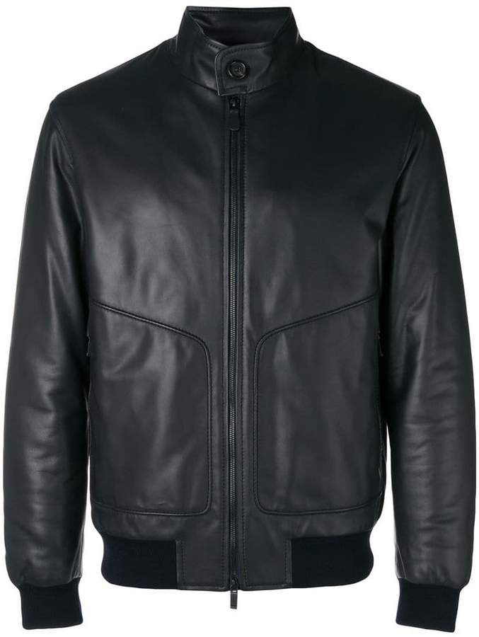 Ermenegildo Zegna zipped biker bomber jacket
