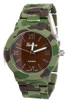 Geneva 2Chique Boutique Women's Camouflage Printed Metal Band Watch