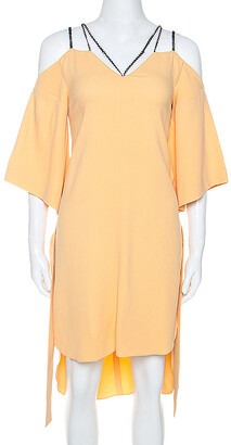 Roland Mouret Pale Orange Crepe Contrast Trim Conway Short Dress M