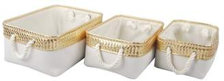 A&B Home Alcott Canvas Nested Baskets, Gold & White
