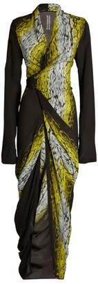 Rick Owens Leopard-Stripe Maxi Dress