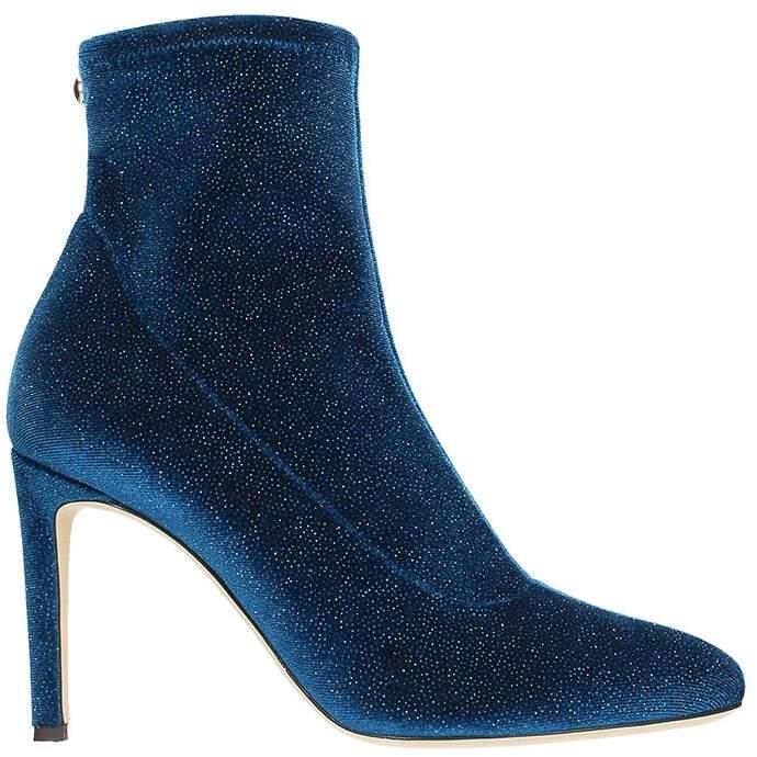 Giuseppe Zanotti Celeste Velvet Blue Glitter Ankle Boots