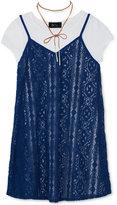Amy Byer Layered-Look Slip Dress, T-Shirt & Necklace Set, Big Girls (7-16)