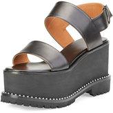Givenchy Elegant Leather Wedge Sandal, Black