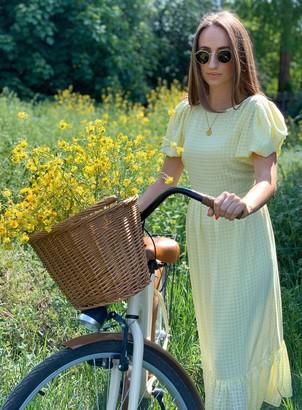 Miss Selfridge Pale Yellow Seersucker Tier Midi Dress