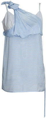 K M By L A N G E Striped Blue Deconstructed Top