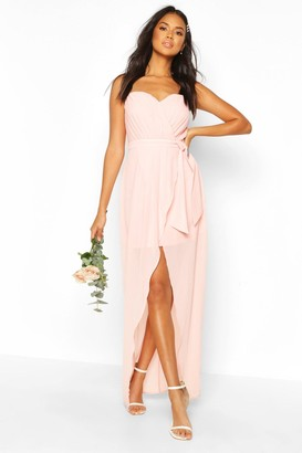 boohoo Bridesmaid Occasion Bandeau Pleated Maxi Dress