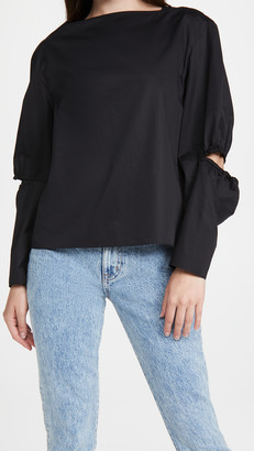Tibi Split Sleeve Boat Neck Top