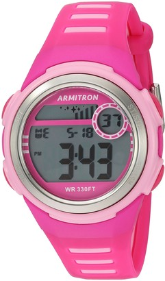 Armitron Sport Women's 45/7069MAG Light Pink Accented Digital Chronograph Magenta Resin Strap Watch