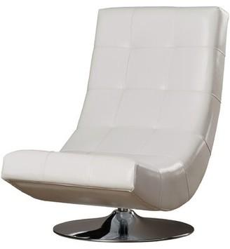 Orren Ellis Ober Swivel Lounge Chair Fabric: White Faux leather