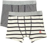 Petit Bateau 2 Pack Striped Boxers (Toddler/Kid) - Navy White - 5 Years