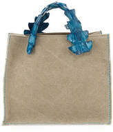 Laboratorio Capri Greta Canvas Tote Bag w/Crocodile Handles
