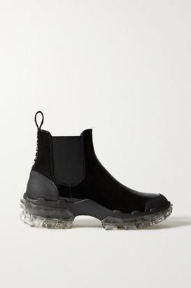 Moncler Hanya Patent-leather Chelsea Rain Boots - Black