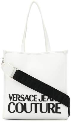 Versace rubber logo contrast strap tote bag