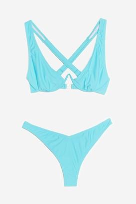 Nasty Gal Womens Double Act Crossover High-Leg Bikini Set - Turquoise