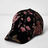River Island Womens Black rose print cap