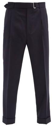 Officine Generale Hugo Belted Wool Straight-leg Trousers - Navy