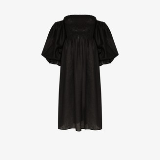 Sleeper Atlanta off-the-shoulder linen dress
