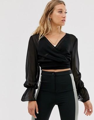 NA-KD Na Kd balloon sleeve chiffon blouse in black